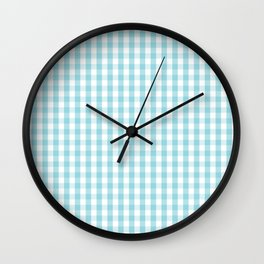 Sky Blue & White Gingham Check Tartan Check Wall Clock