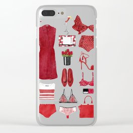 Red fashion Clear iPhone Case