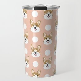 Corgi polka dots peach blush pastel pink coral welsh corgi iphone case for dog lover gifts for dogs Travel Mug