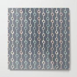 Polka Dot Stripe Pink Cream Green on Gray Metal Print