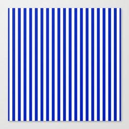 Cobalt Blue and White Vertical Deck Chair Stripe Canvas Print