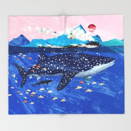 WHALE SHARK AND STEAM TRAIN Throw Blanket