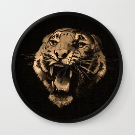 Vintage Tiger in black Wall Clock