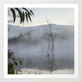 """Dream trees"". Foggy sunrise at the lagoon Art Print"