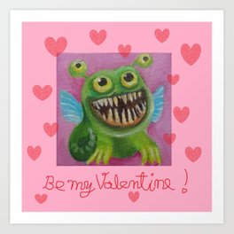 Be my Valentine! Funny Baby Dragon with hearts and quote Art Print