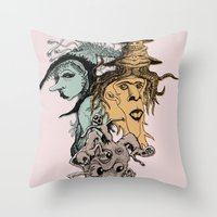 hats Throw Pillows featuring Monster Hats  by Quirkyjoe