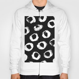 Painted Circles White on Black Hoody