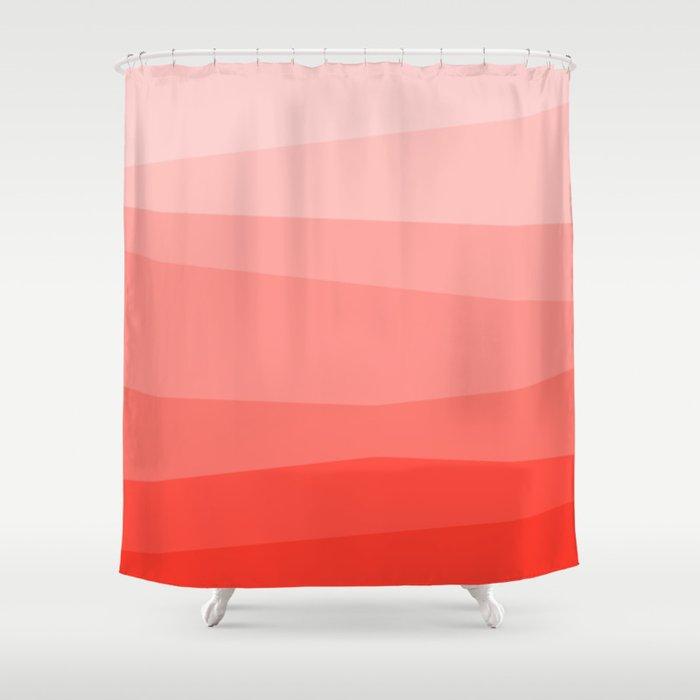 Diagonal Living Coral Gradient Shower Curtain