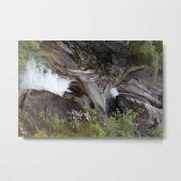 Norwegian waterfall photo, landscape photos, pothole, Instant download, Fine art gifts  Metal Print