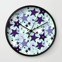 Fun pattern with stars and twinkle lights Wall Clock