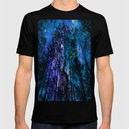 Black Trees Teal Purple Space T-shirt