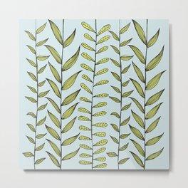 Leafy Vines ~ GEEN on BLUE Metal Print