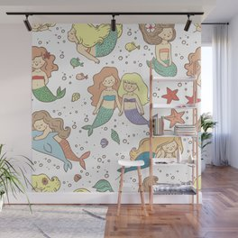 Cute Mermaid Illustration BFF Continuous Pattern Wall Mural