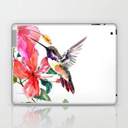 Hummingbird and Hibiscus, tropical Hibiscus design Laptop & iPad Skin