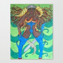 Blue Fire Warrior Canvas Print