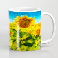 sunflowers Mugs featuring sunflowers by KrisLeov