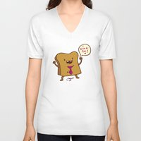 bread V-neck T-shirts featuring bread by Melissa Ballesteros Parada