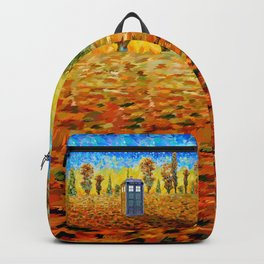 Blue phone Booth at Fall Grass Field Painting Backpack