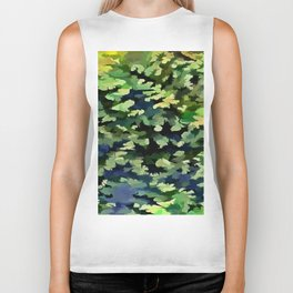 Foliage Abstract Pop Art In Green and Blue Biker Tank