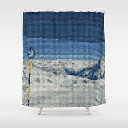 Cross Stitch Skiing Shower Curtain