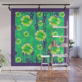 Contemporary Yellow & Green Purple Floral Art Wall Mural