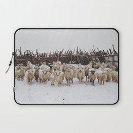 Snowy Sheep Stare Laptop Sleeve