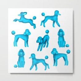 Turquoise Blue Poodles Metal Print