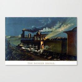 The Danger Signal: Train Scene, Currier & Ives Canvas Print