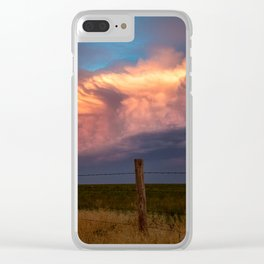 Dreamy - Storm Cloud Bathed in Sunlight at Dusk in Western Oklahoma Clear iPhone Case