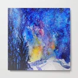 Midnight Galaxy Road watercolour by CheyAnne Sexton Metal Print