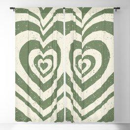 Retro Green Hypnotic Hearts Pattern (viii 2021) Blackout Curtain