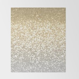 Gold and Silver Glitter Ombre Throw Blanket