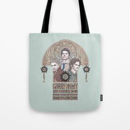 Carry On My Wayward Son (Castiel, Sam and Dean Winchester) Tote Bag