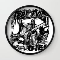 horror Wall Clocks featuring Horror by HEADBANGPARTY