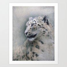 Snow Leopard profile Art Print