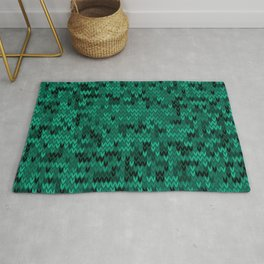 Green knitted textiles Rug