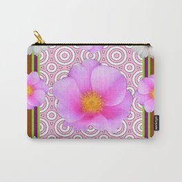 Coffee Brown Shasta Daisy Pink Roses Abstract Art Carry-All Pouch