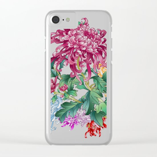 Oriental Flowers Clear iPhone Case