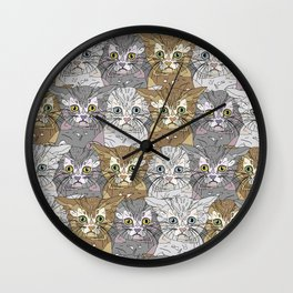 Kitties Galore Pattern Wall Clock