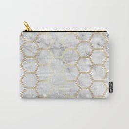 Honeycomb Marble Gold #767 Carry-All Pouch