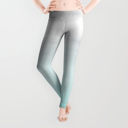 Touching Aqua Blue Gray Watercolor Abstract #1 #painting #decor #art #society6 Leggings