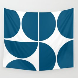 Mid Century Modern Blue Square Wall Tapestry