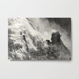 Strength against the waterfall Metal Print