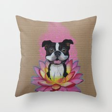 Zen Boston Terrier Throw Pillow