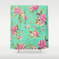 shabby chic Shower Curtains featuring Floral Shabby Chic by ilola