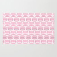 macaroon Area & Throw Rugs featuring French Macaron Pattern - Cute Food Art - Pink Macaroon by French Macaron Art Print and Decor Store