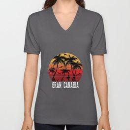 Gran Canaria Palm Trees Holiday Motif Gift Idea Unisex V-Neck