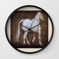 larry Wall Clocks featuring Larry / Horses by Elizabeth Moriarty