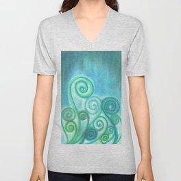 Pastel Blue Curls  Unisex V-Neck