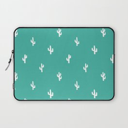 Minimalist Cactus Pattern in Turquoise Blue Green and White Laptop Sleeve